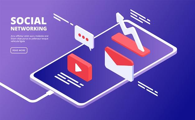Media społecznościowe i telefon. marketing internetowy, podobnie jak ikony wiadomości na szablonie smartfona