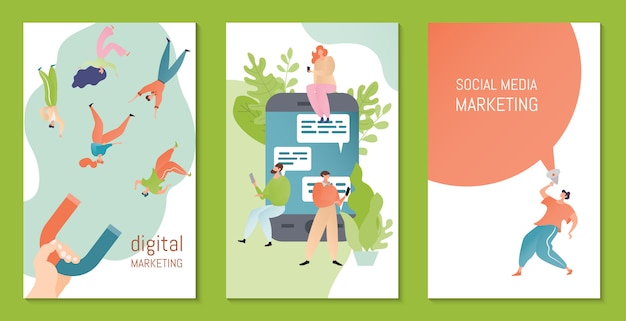Media społecznościowe, ilustracja marketingu cyfrowego. marketeer przyciąga magnesowe postacie z kreskówek. koncepcja strategii marketingowej.