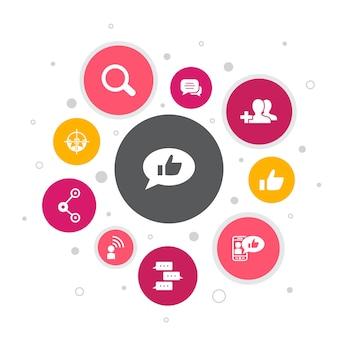 Media społecznościowe infografika 10 kroków bubble design.like, udostępnianie, śledzenie, komentarze proste ikony
