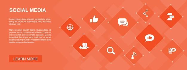 Media społecznościowe infografika 10 opcji szablon. polub, udostępnij, obserwuj, komentuj proste ikony