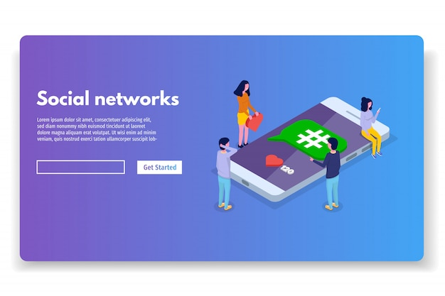 Media społecznościowe, koncepcja izometryczna sieci. ilustracji wektorowych.
