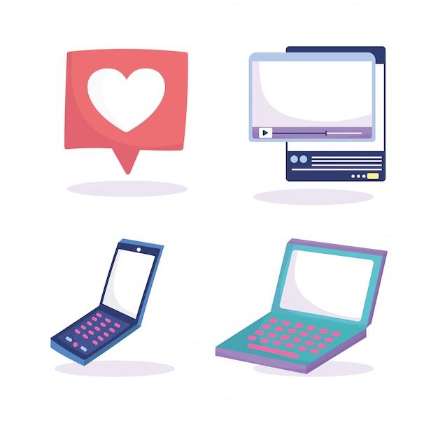 Media społecznościowe laptop smartfon mowy bańka wideo ikony www
