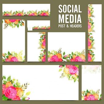Media społecznościowe, nagłówek lub banery z różanymi kwiatami.