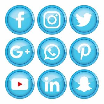 Media społecznościowe niższe trzecia kolekcja z plamami farby darmowych wektorów