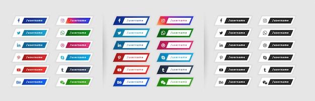 Media społecznościowe niższe trzecie banery w trzech stylach