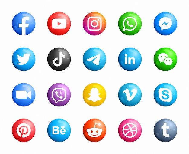 Media społecznościowe okrągły nowoczesny zestaw ikon 3d
