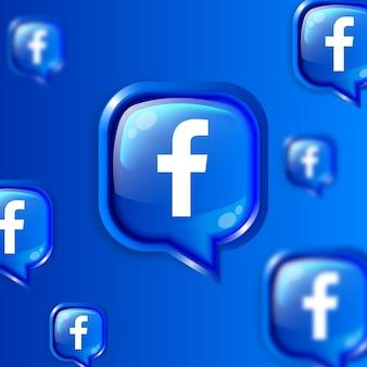Media społecznościowe pływające ikony facebooka w tle