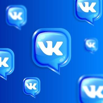 Media społecznościowe pływające ikony vk w tle banner