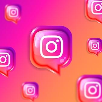 Media społecznościowe pływający baner tła ikon instagram