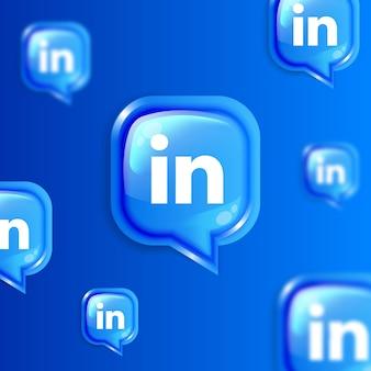 Media społecznościowe pływający baner tła ikon linkedin