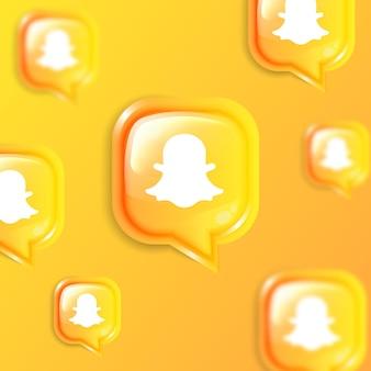 Media społecznościowe pływający baner w tle ikony snapchat