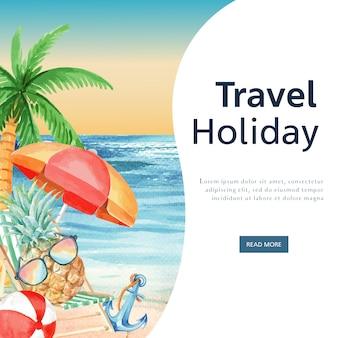 Media społecznościowe podróż na wakacyjnym lecie na plażę wakacje na palmach, światło słoneczne morza i nieba