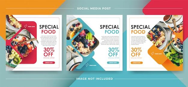 Media społecznościowe post tamplate banner żywności