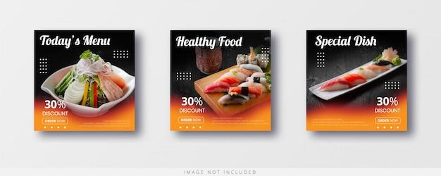 Media społecznościowe sprzedaż żywności na instagramie i szablon banera