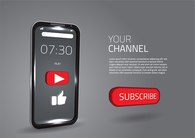 Media społecznościowe subskrybują jak przycisk inteligentny nowoczesny telefon komórkowy 3d