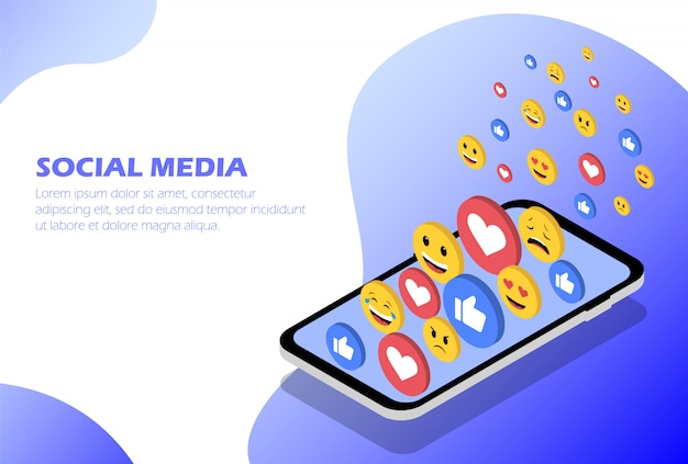 Media społecznościowe. telefon koncepcyjny z emotikonami i polubieniami. izometryczne ilustracji