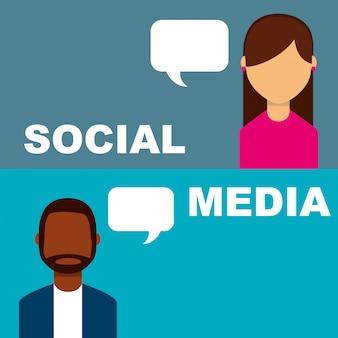 Media społecznościowe transparent ludzie mówiący dymek