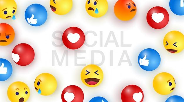Media społecznościowe z tłem emoji z grupą emotikonów streszczenie smiley, emoji. ilustracja.