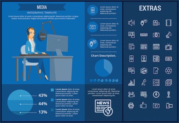 Medialny infographic szablon, elementy i ikony