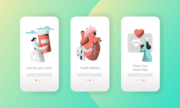 Medical cardiology worker care heart health mobile app page onboard screen set.