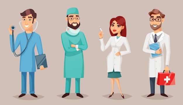 Medical professionals people retro cartoon poster