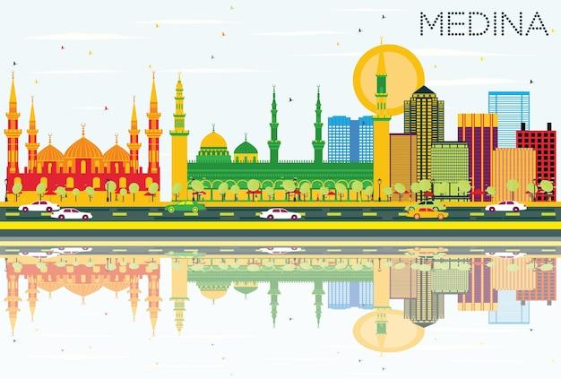 Medina skyline z kolorowymi budynkami, błękitnym niebem i odbiciami. ilustracja wektorowa. podróże służbowe i koncepcja turystyki z zabytkowymi budynkami. obraz banera prezentacji i witryny sieci web.