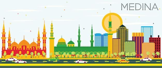 Medina skyline z kolorowymi budynkami i błękitnym niebem. ilustracja wektorowa. podróże służbowe i koncepcja turystyki z zabytkowymi budynkami. obraz banera prezentacji i witryny sieci web.