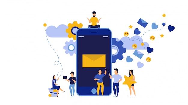 Mediów społecznościowych akcji telefon trend osób ilustracja z mężczyzną i kobietą.