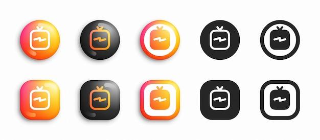 Mediów społecznościowych nowoczesny zestaw 3d i płaskie ikony