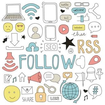 Mediów społecznych doodle ilustracji wektorowych