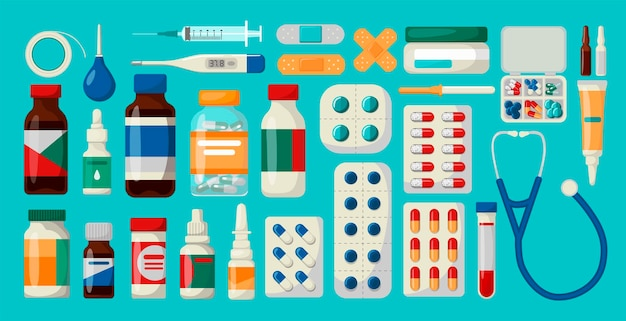 Medycyna, apteka, szpital zestaw leków z etykietami