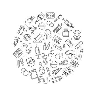 Medycyna butelek leków pigułki liniowe ikony okrągły koncepcja