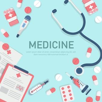Medycyna elementy tła w stylu płaski