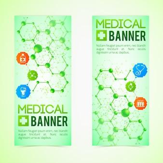 Medycyna i diagnoza banery zestaw