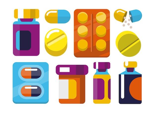 Medycyna i leki w stylu płaski.