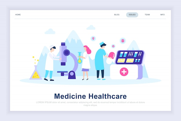 Medycyna i opieka zdrowotna nowoczesne płaskie strony docelowej