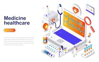 Medycyna i opieka zdrowotna nowoczesny projekt płaski