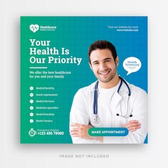 Medycyna i opieka zdrowotna w mediach społecznościowych szablon postu na instagramie