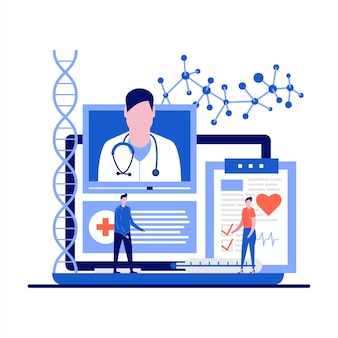 Medycyna i opieka zdrowotna z konsultacją medyczną online i wizytą u lekarza w płaskiej konstrukcji