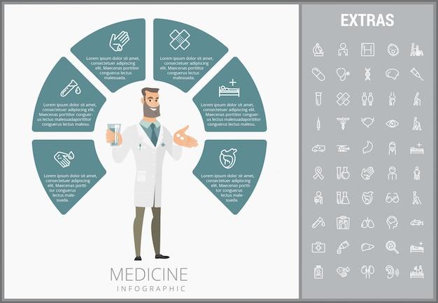 Medycyna infographic szablon, elementy i ikony