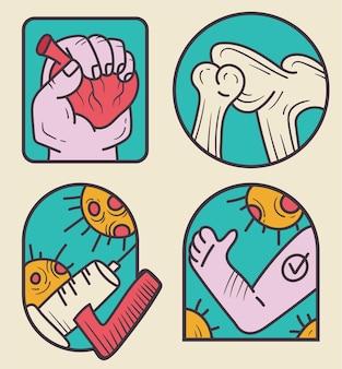 Medycyna laboratorium opieki zdrowotnej naklejki odznaka na białym tle zestaw wektor płaskie kreskówka graficzna ilustracja