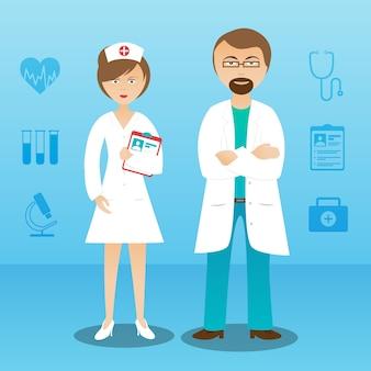 Medycyna lekarz mężczyzna kobieta transparent postaci