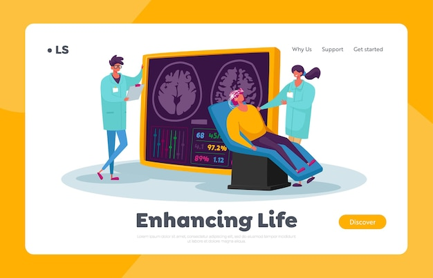 Medycyna neurobiologiczna, szablon strony docelowej mri mózgu