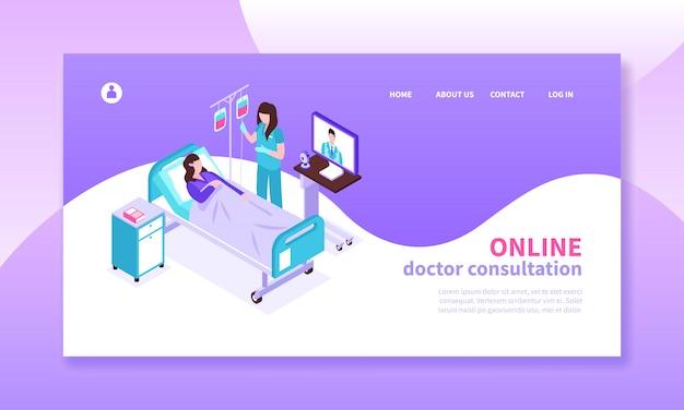 Medycyna online izometryczny poziomy baner z pacjentem konsultacji z lekarzem 3d