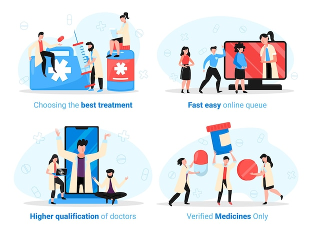 Medycyna online zestaw z czterema izolowanymi kompozycjami lekarzy komputerów smartfonów z pigułkami i edytowalnym tekstem