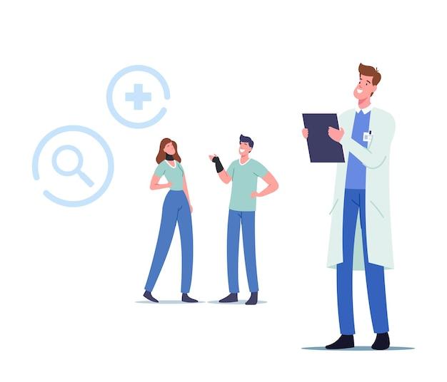 Medycyna opieki zdrowotnej, terapia, wizyta u lekarza. postacie męskie i żeńskie z ortopedycznym bandażem na szyi i nadgarstku odwiedzając klinikę ortopedyczną lub szpital. ilustracja wektorowa kreskówka ludzie