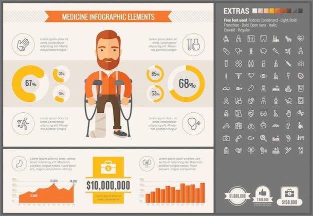 Medycyna płaska konstrukcja infographic szablon i ikony ustaw