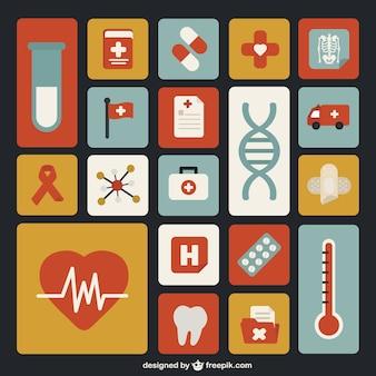 Medycyna płaskie ikony pack