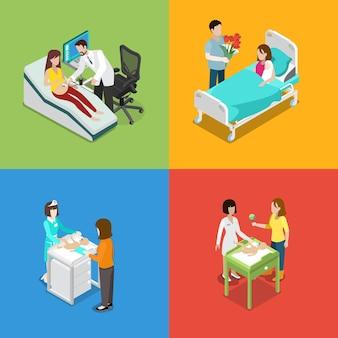 Medycyna Zestaw Do Opieki Medycznej W Ciąży Prenatalnej Premium Wektorów