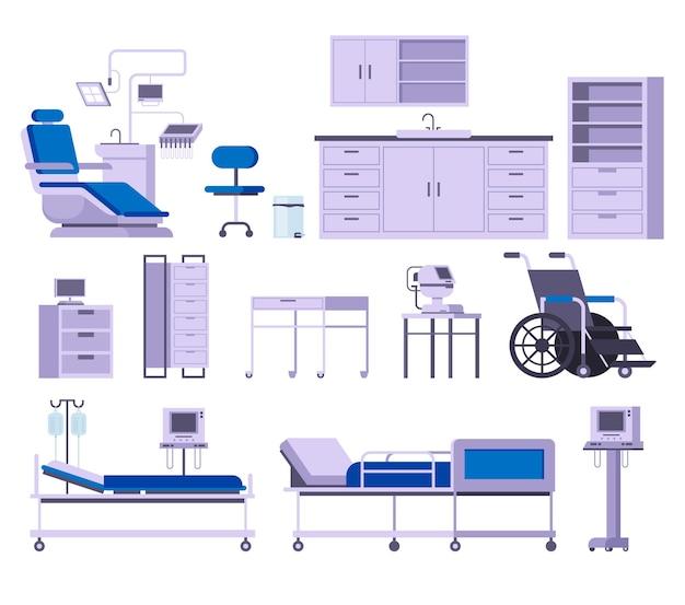 Medycyna zestaw mebli szpitalnych na białym tle.